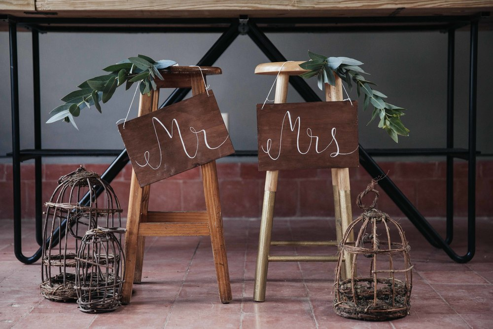 Mr and Mrs handpainted chair signs