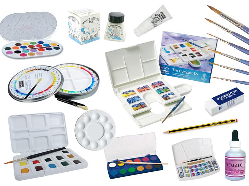 Diversos tipos de pinturas y pinceles