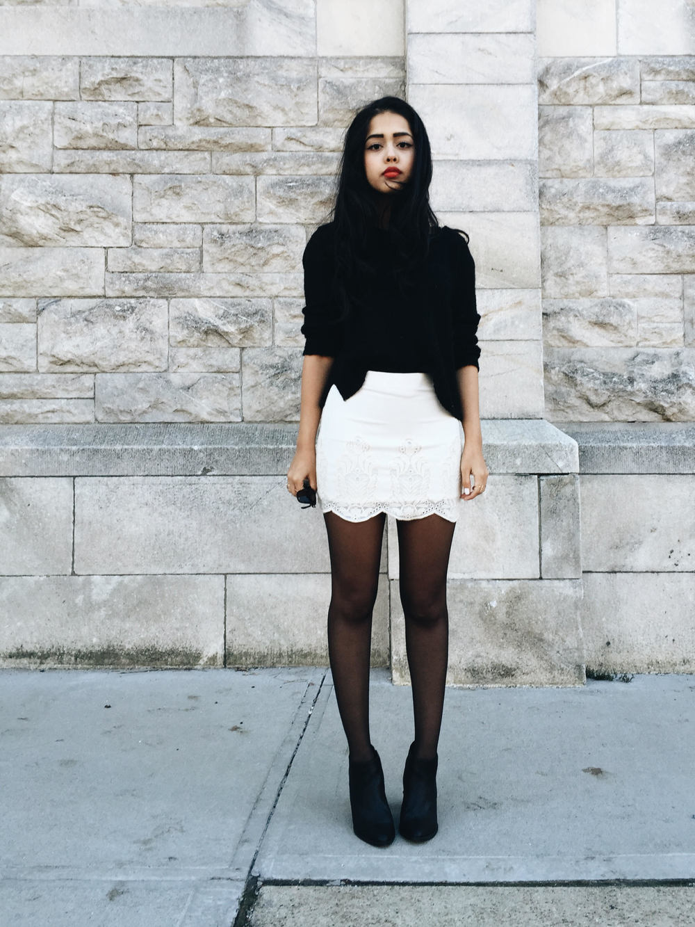 arushi khosla, new york, arushi.co, bodycon skirt, chunky knit, forever 21, red lip, nars heat wave