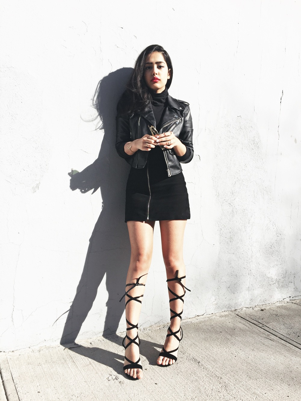 arushi khosla, arushi.co, public desire, lace up heels, williamsburg, zara leather jacket, classic specs, nasty gal skirt