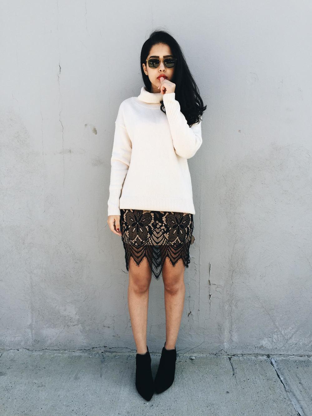 arushi khosla, arushi.co, shop tobi, tobi.com, lace skirt, for love and lemons, ootd, williamsburg, brooklyn