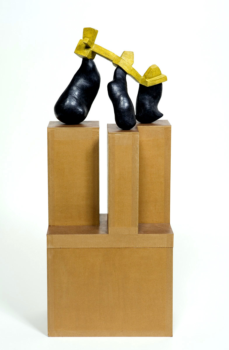 Untitled, 2007 - 2008, Newspaper, leaflets, inorganic household waste, ashes, wax. 87 x 35 x 19 cm (incl. box/pedestal). Private collection. Photo: W.Vermaase.