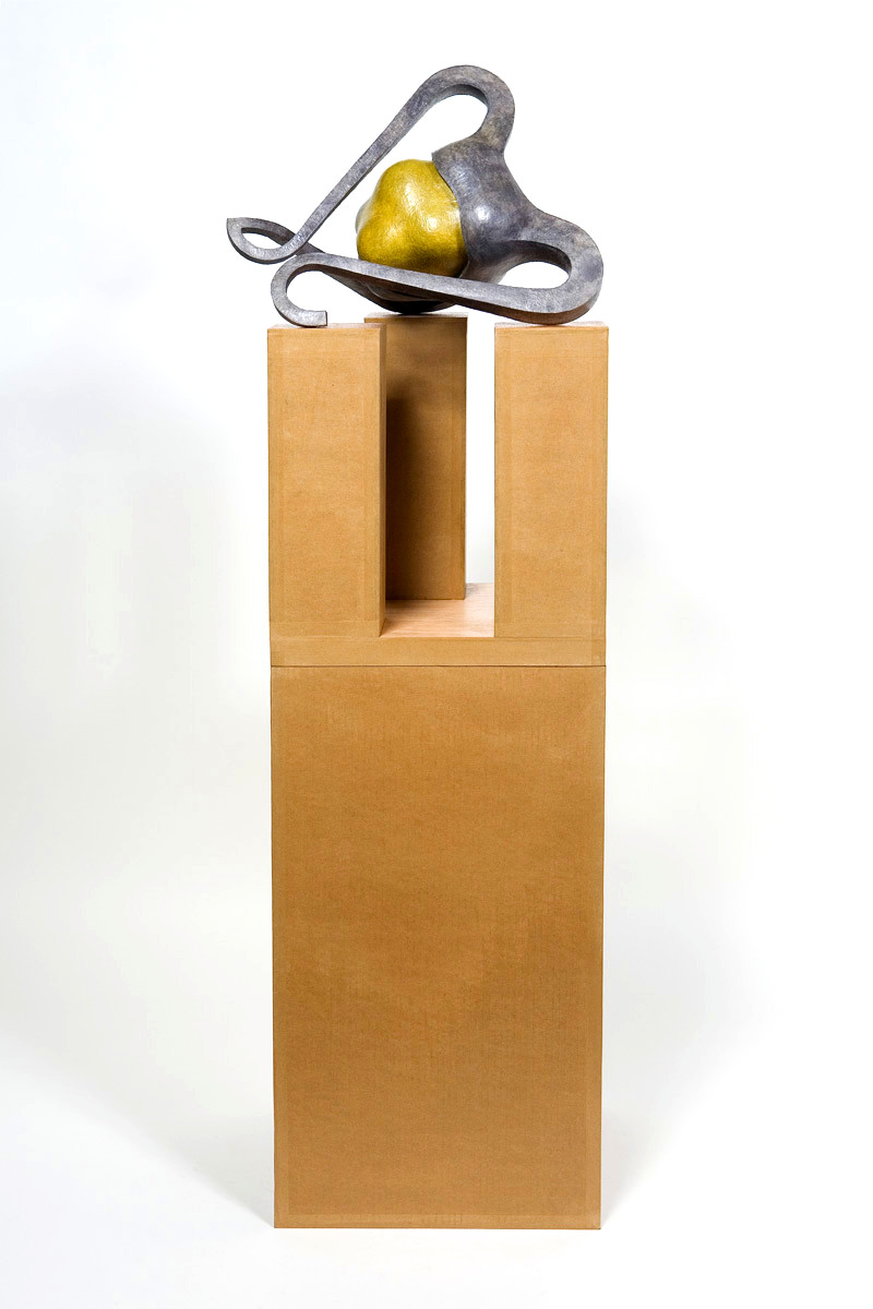 Untitled 2007 - 2008, Newspaper, leaflets, paint residue, inorganic household waste, ashes, wax. 149 x 41 x 38 cm.(incl. box/pedestal). Photo: W.Vermaase.
