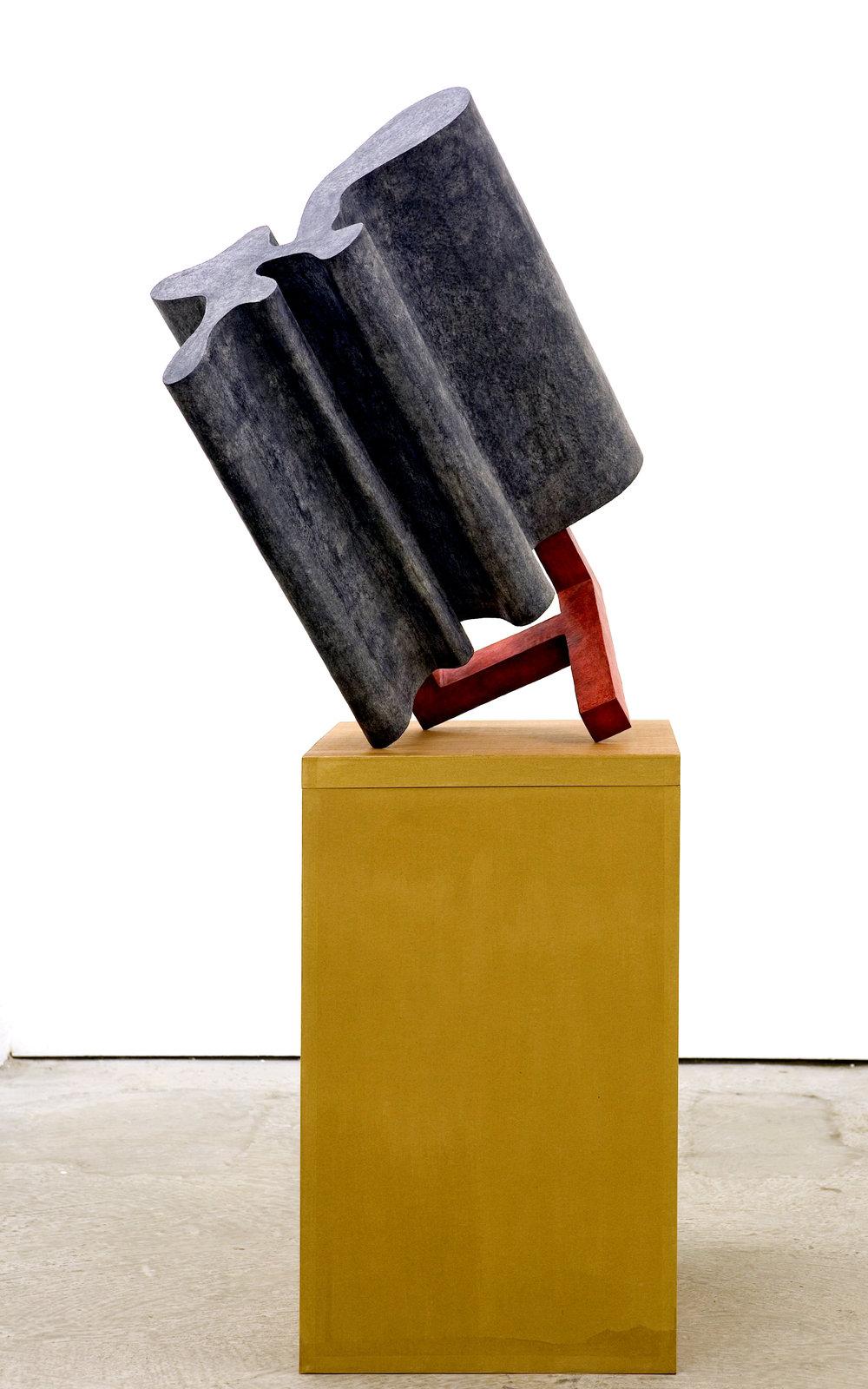 Untitled 2006 - 2009, newspaper, leaflets, printerpaper, inorganic household waste, ashes, wax. 146 x 66 x 61 cm. (incl. box/pedestal). Photo: W.Vermaase.