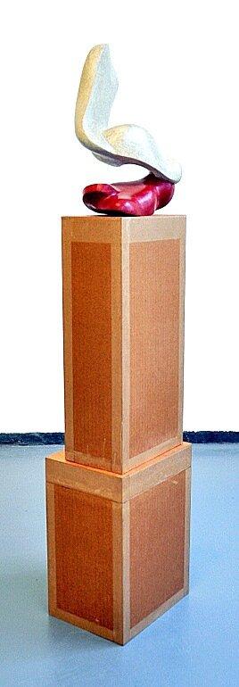 Untitled 2011 - 2014, Newspaper, leaflets, inorganic household waste, ashes, votive candle residue. 100 x 17 x 22 cm.(including box/pedestal). Photo: J.E. Visser.