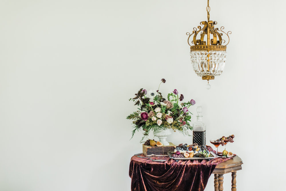 Lush, decadent color against a light backdrop. Styling by jennifer of {feather + oak}, photography by  Sarah Sidwell Photography , florals by Emily Kennedy of  Kennedy Occasions .