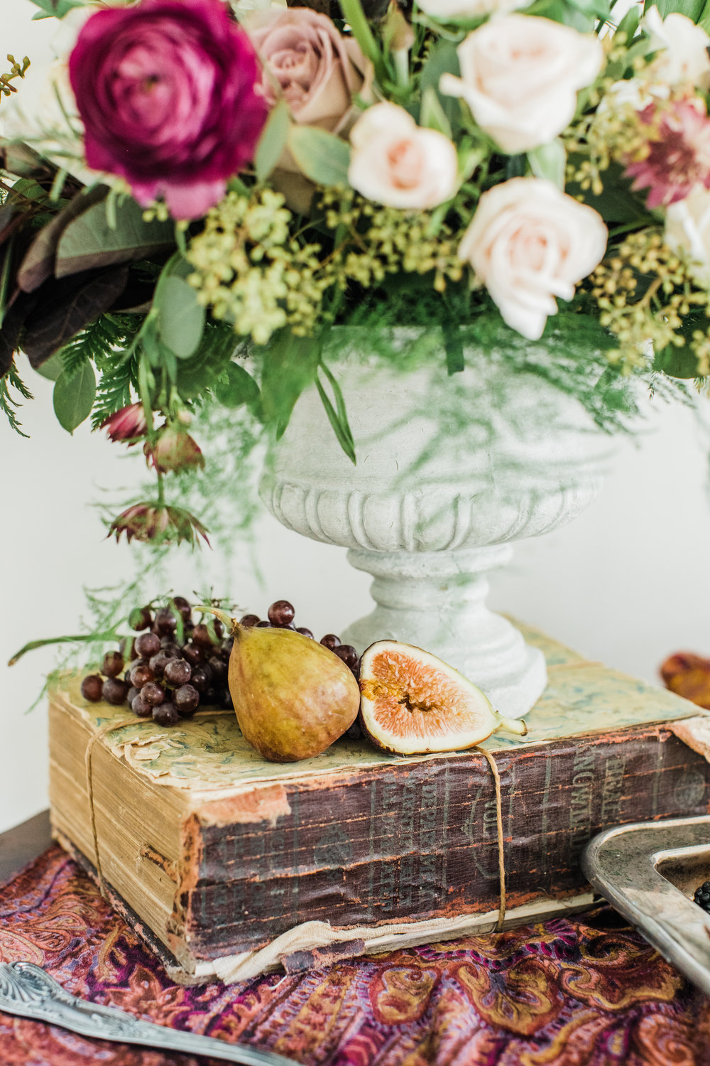 Texture close up: velvet, paper, fruit, floral, stone, metal. Styling by jennifer of {feather + oak}, photography by Sarah Sidwell Photography, florals by Emily Kennedy of Kennedy Occasions.