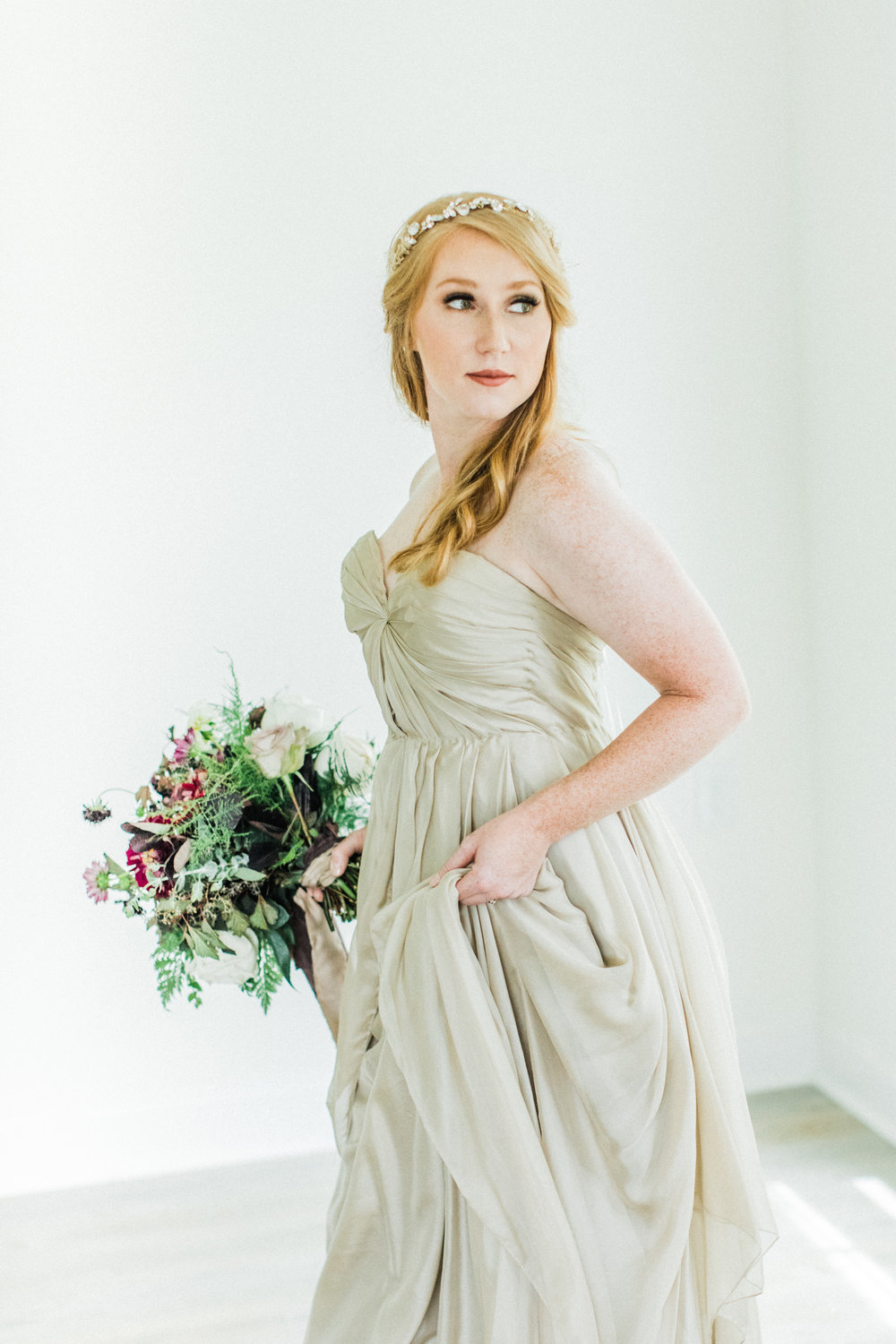 Creamy, yummy cafe au lait color. Dress from  LVD Bridal , photography by  Sarah Sidwell Photography , florals by Emily Kennedy of  Kennedy Occasions ,   styling by jennifer of {feather + oak}.