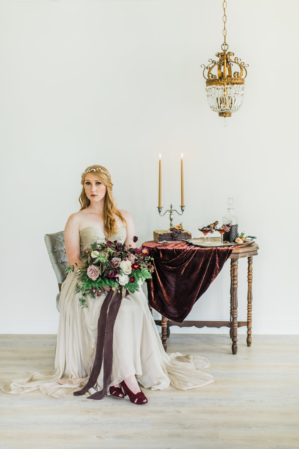Princess perfection. Styling by jennifer of {feather + oak}, photography by Sarah Sidwell Photography, florals by Emily Kennedy of Kennedy Occasions, dress from LVD Bridal.