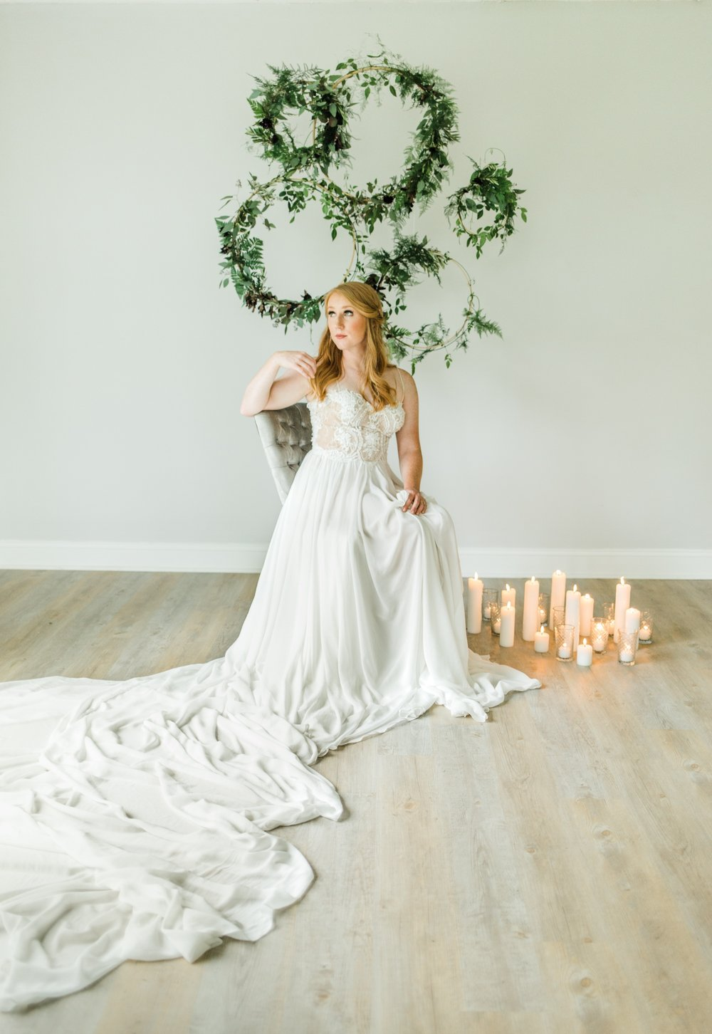The most amazing train on a gown. Styling by jennifer of {feather + oak}, photography by  Sarah Sidwell Photography , florals by Emily Kennedy of  Kennedy Occasions .