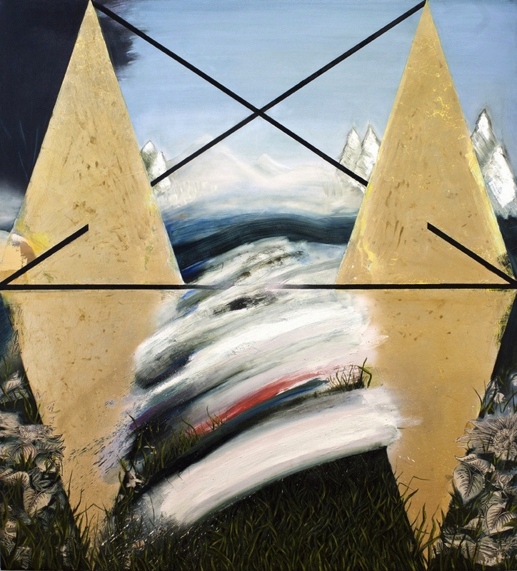 "Monument II     2013                        78""x72""                           Oil, acrylic, gold leaf, and collage, on canvas."