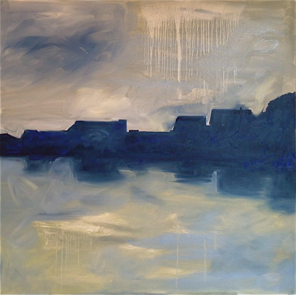 "Mill Pond Sunrise 40""x 40"" Oil on Canvas"
