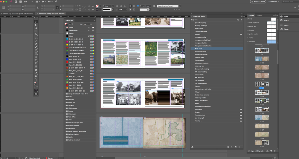 Pages from Balsham, a village story, 1617 - 2017 in Indesign