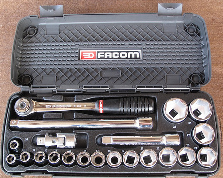 "A high-quality Facom 1/2"" set with a comprehensive assortment of sockets."