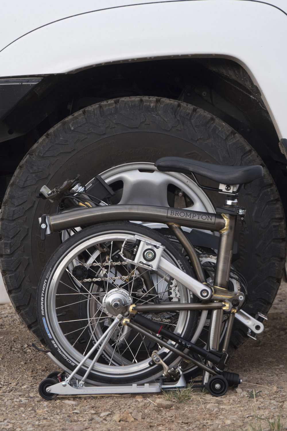 The Brompton next to a modest 31-inch-tall BFG