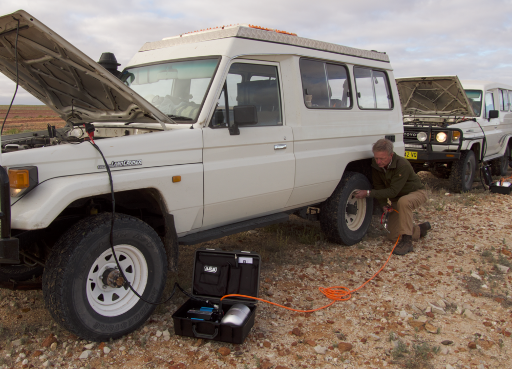 The ARB Twin is available either as the portable kit shown here,which includes an air tank for operating air tools, or as a stand-alone unit for hard mounting in the vehicle.