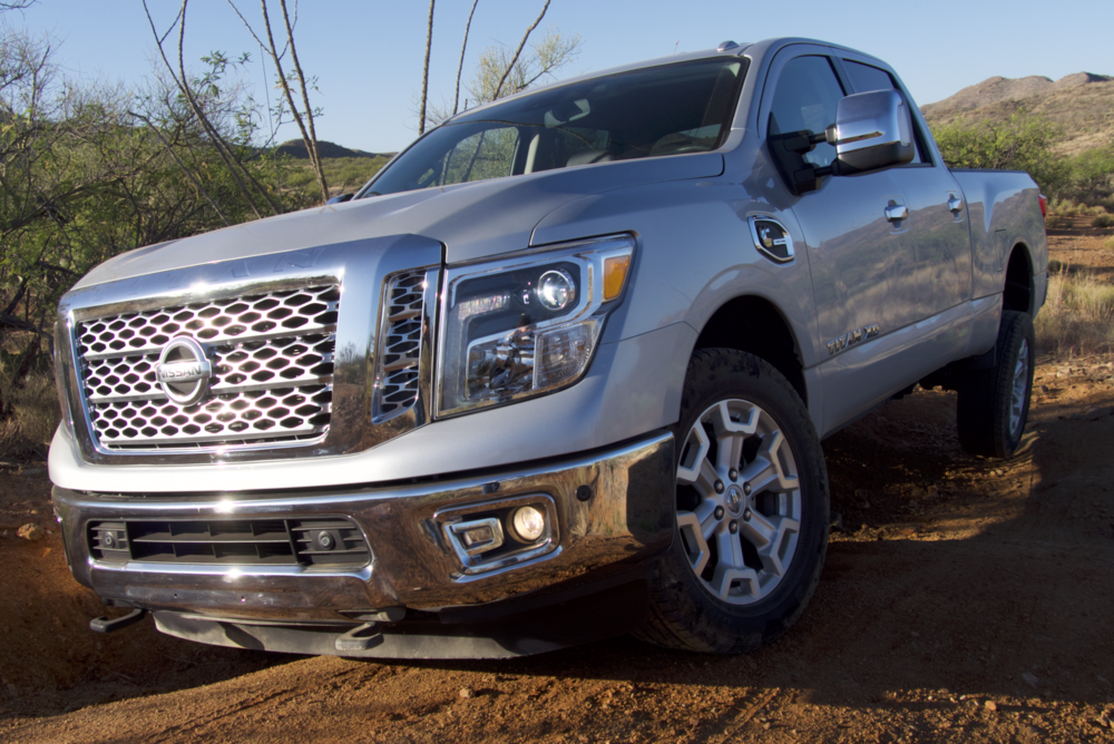 The Nissan Titan XD's traction control will pull it through situations such as this, but not without some wheel spin.