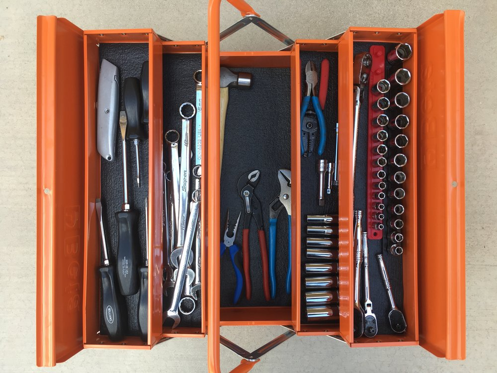 The four-tray cantilever box containing the tools from the Blue Ridge bag. Plenty of room left over.