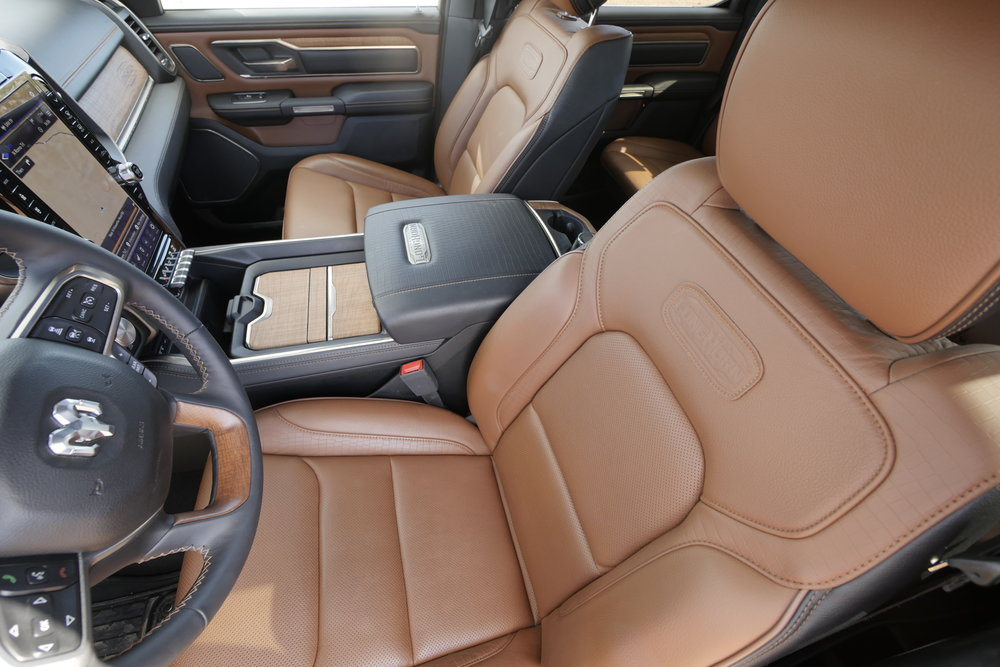 The Laramie Longhorn has slightly tacky alligator-pattern leather bits, but genuine wood trim.