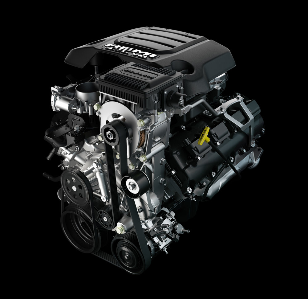 Soon-to-come 5.7-liter eTorque engine. The eTorque module is the Ram-branded device at top front.
