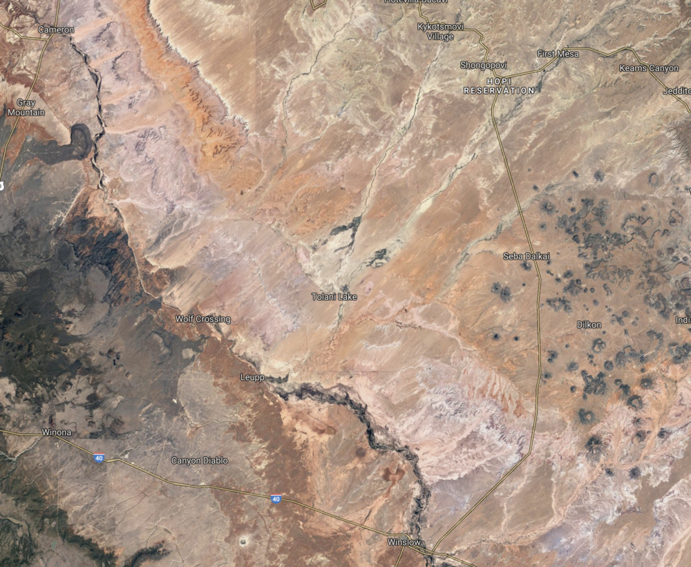 Google Earth captures the range of colors of northern Arizona's Painted Desert.
