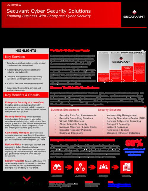 Secuvant's Cyber Security Data Sheet