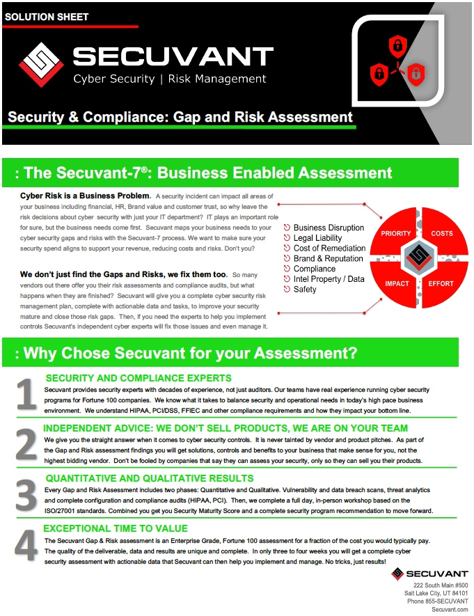 Download the Gap & Risk Assessment Solution Sheet