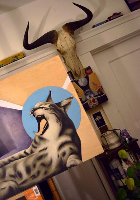 bobcat painting, wildebeest skull