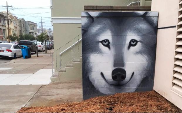 new mural, 18th Avenue. Richmond District SF