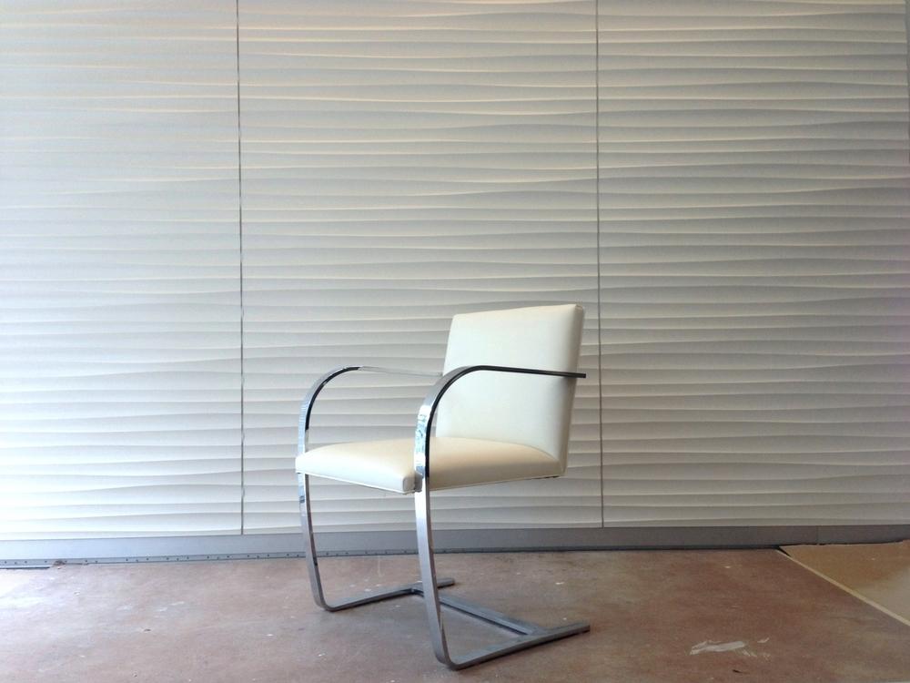 3Form  Panels, Fry Reglet Aluminum reveals, Mies  Bruno Flat Bar Chair 1930