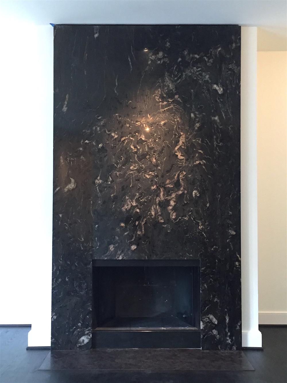 Titanium  Schist  metamorphic Stone,  dark Bronze trim