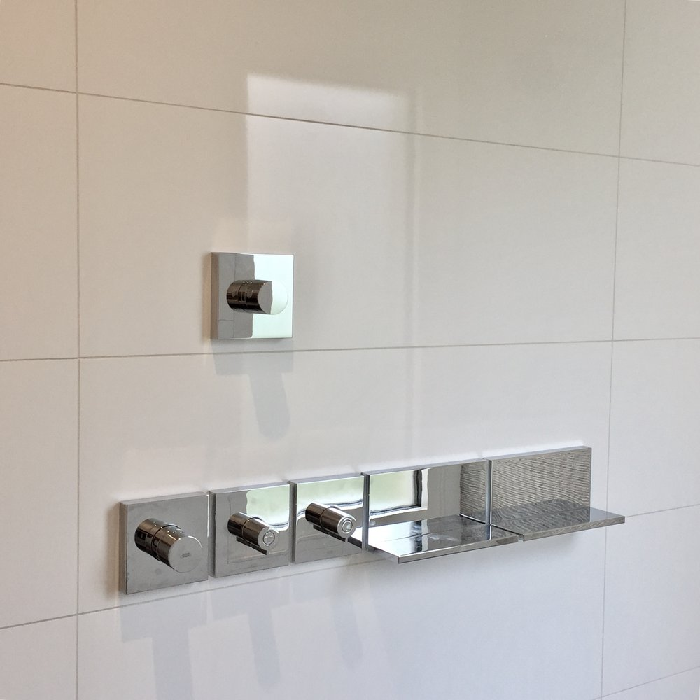 Hansgrohe AXOR  Shower System, French designer  Philippe Starck ,  Porcelanosa  Tile