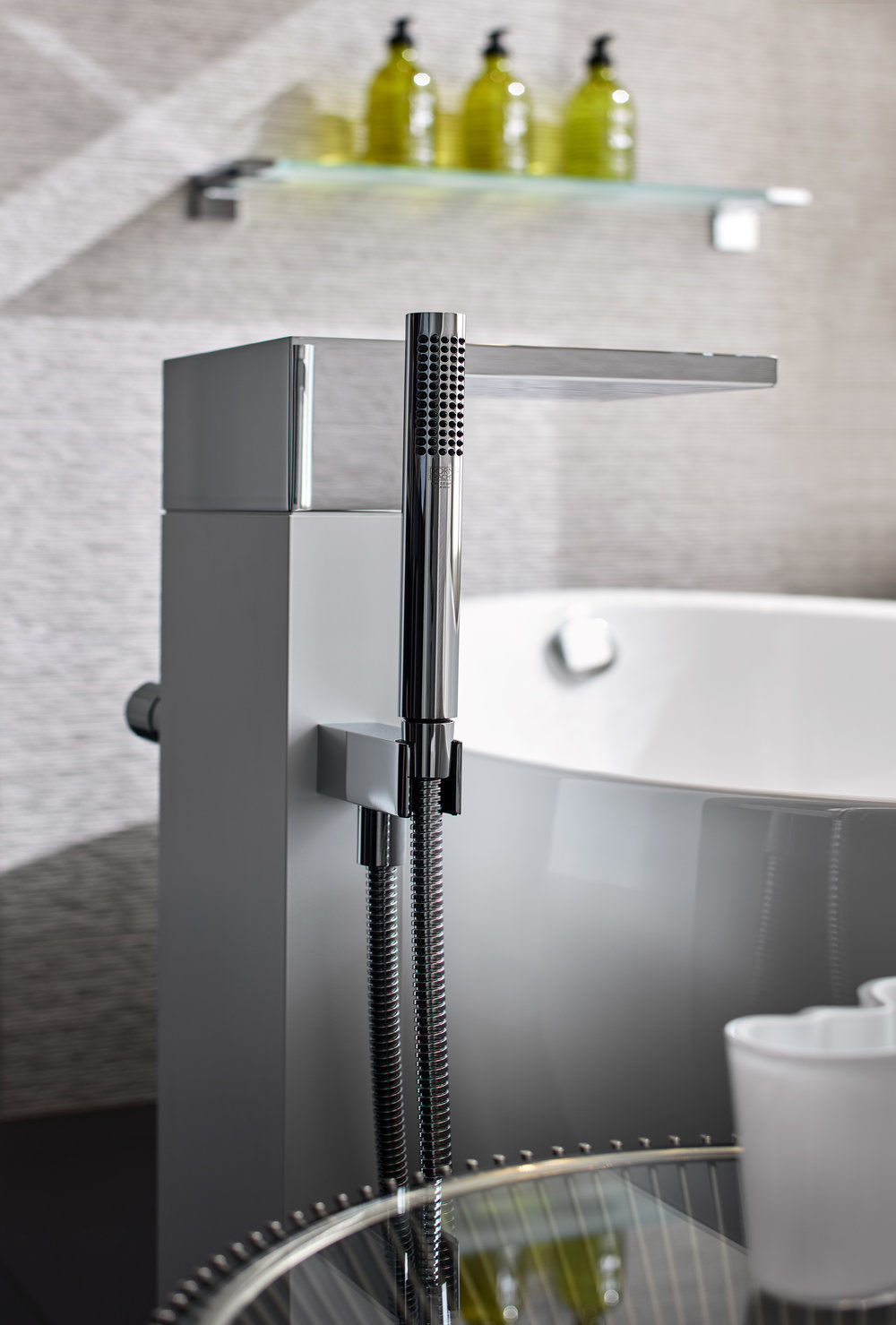 "Dornbracht Tub Filler ""On matters of architecture, design and technology, Bathroom as a place of revitalization."""