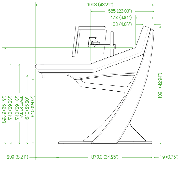 I used the exact proportional dimensions as the Apollo desk.