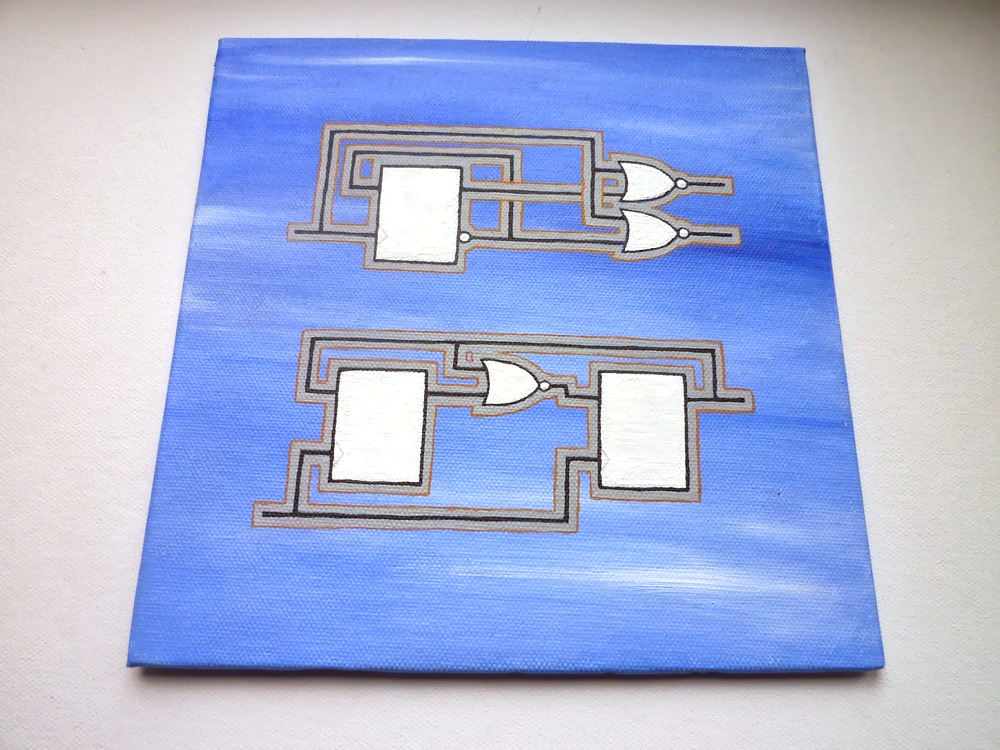 Some logic circuits from the Second Edition I painted on canvas. More here.