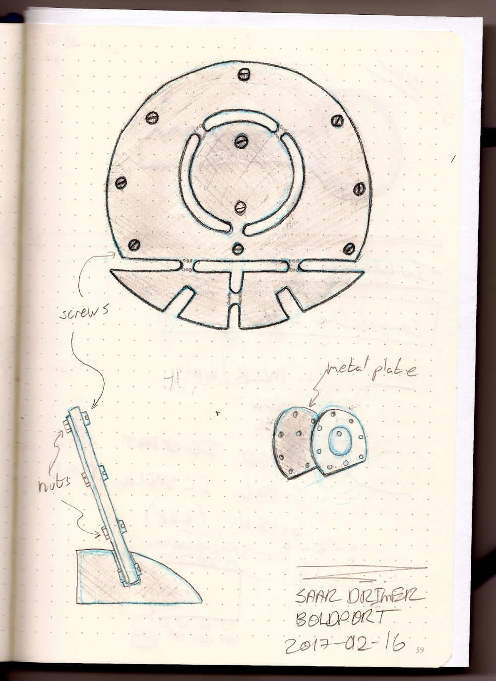 Second concept sketch. Adding metal backing would add weight and could solve stability, assembly, and reattachment of the medal.