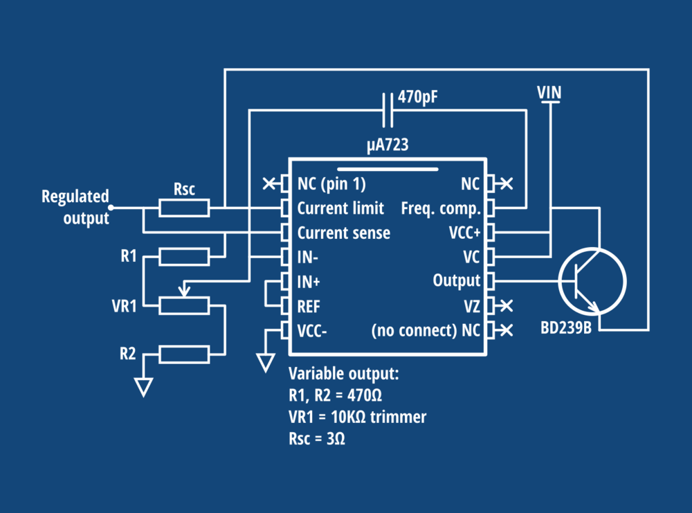 Variable output voltage with transistor