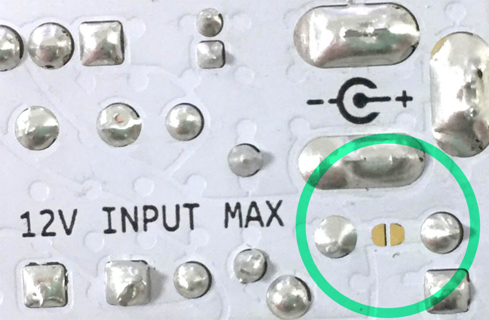 Location of the fuse bypass solder jumper