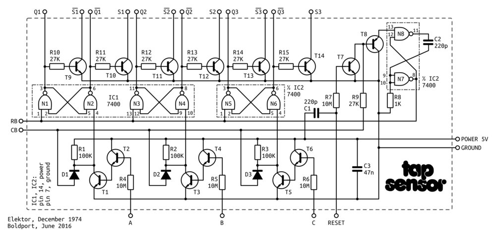 The board's schematics. (Note different values of C1 and C2 from original to reflect what's in the kits.)
