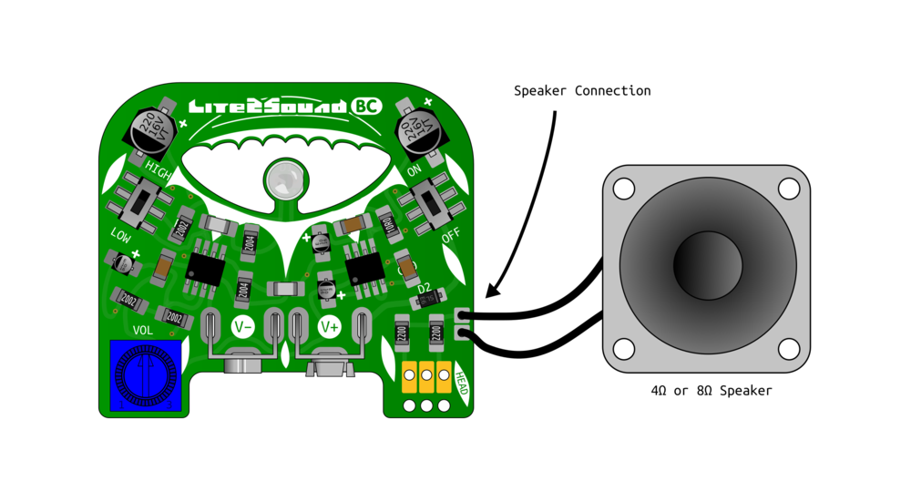 How to attach a speaker (not included)