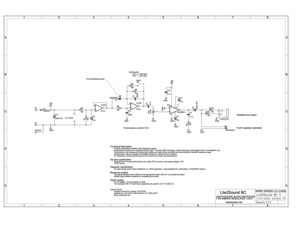 Schematic of  Lite2Sound BC     PDF