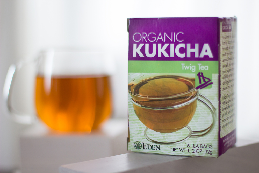 We're using  Eden's Kukicha tea , found at Whole Foods.