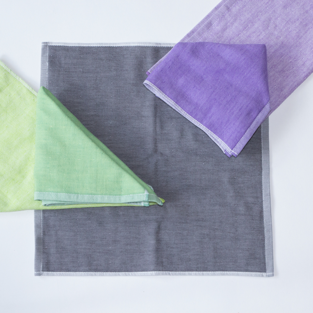 The Yoshii Two-Tone Chambray in Violet, Green 2 and Black 2.