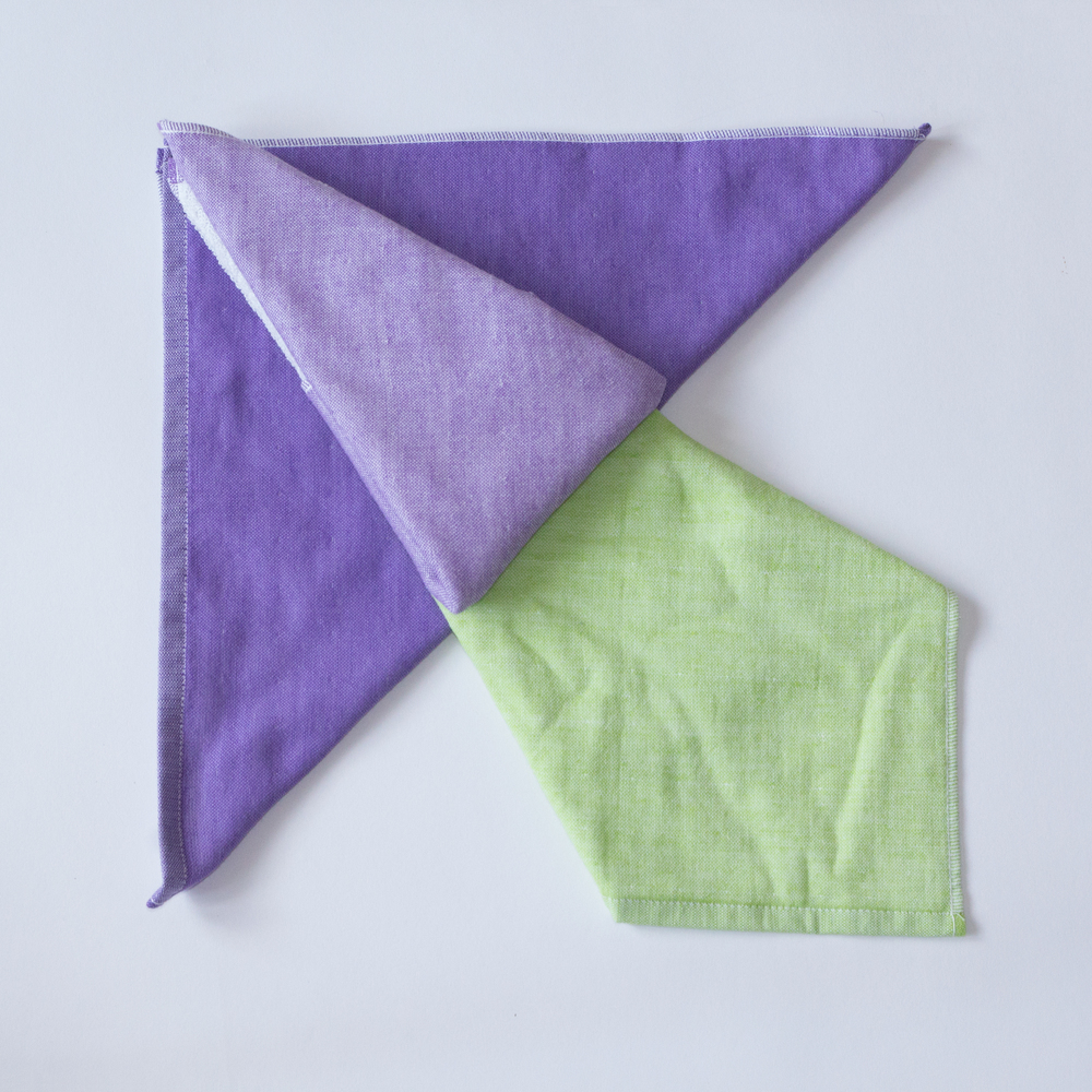 Colorplay with Yoshii two-tone chambray towels in Violet 1, Violet 2 and Green 2.