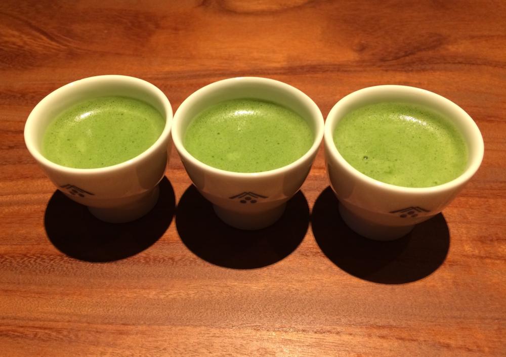 Beautiful, bright green matcha tea.