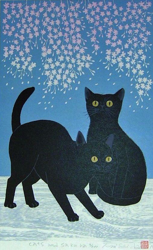 """""""Cats and Sakura"""" by Tadashige Nishida."""
