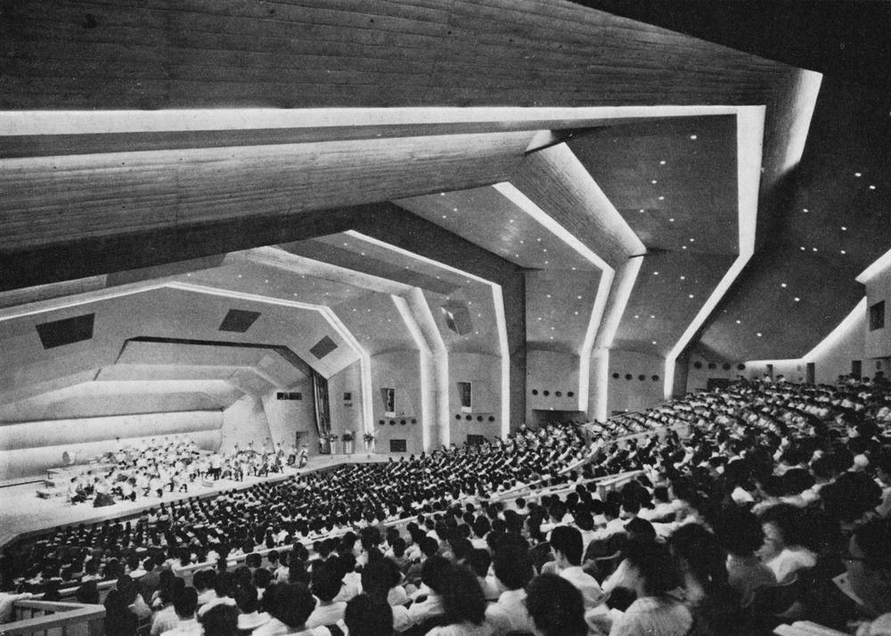 Antonin Raymond and L.L. Rado,Gunma Music Center, 1961.Takasaki, Japan.