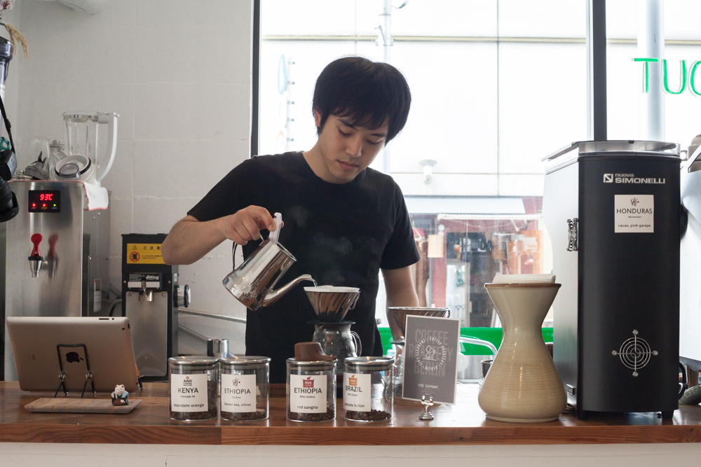 Owner Jun Saito pours each cup by hand, taking small teaspoon-sized sips to make sure each cup is brewed just right.