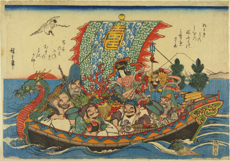 Pictured clockwise from top: Benzaiten, the patron of the arts; Kichijoten, the protector of authority and good behavior; Fukurokuju, the god of happiness;  Ebisu, the patron of fishermen; Daikokuten, the household deity of wealth; Hotei, the guardian of children, and Jurojin, the patron of the elderly.