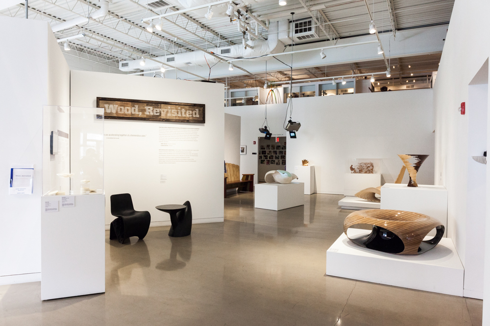 A view of the Center's main gallery, with works by Wendell Castle and Iftah Geva.